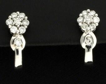 Diamond Flower Earrings .80ct TW