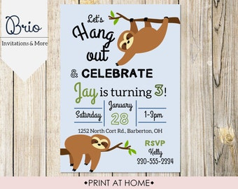 Printable Sloth Birthday Party Invitation
