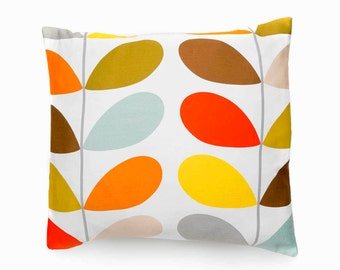 Decorative pillow, cotton cushion cover, made with Orla Kiely stem-print fabric, throw pillow, home accessories, home decoration
