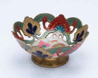 Vintage metal bowl, decorative bowl, patterned bowl, retro bowl, vintage floral bowl, retro bowl, metal bowl, vintage bowl