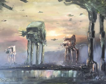 Star Wars All Terrain Original Oil Painting Limited | AT-AT Walker