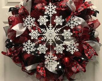 Buffalo Plaid Snowflake Wreath, snowflake wreath, buffalo plaid decor, front door wreath, holiday wreath, winter wreath, Christmas wreath