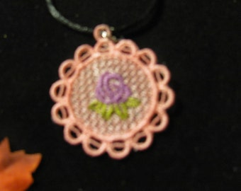 Lucy Embroidered Pendant Necklace (Round)