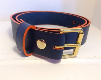 """1.1/2"""" Leather Belt with interchangeable buckle, Blue with an Orange edge"""