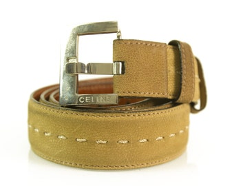 Celine Women's Beige Leather Belt with stitching size 85
