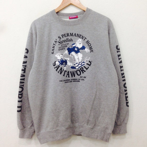 Rare SANTA WORLD Sweatshirt Big Logo Crewneck Pullover Gray Colour