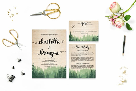 Rustic wedding template invite_5,Printable Wedding Invitation Suite,Wedding Invite Set,Wedding Printable,Calligraphy