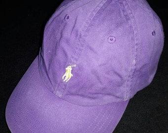 sale! Vintage Polo by Ralph Lauren Purple cap Leather Adjustable