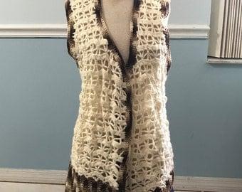 Crochet Vest - Cream and Brown - L/XL