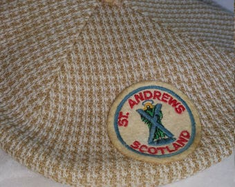 Vintage Kangol Herringbone Golf Cabbie Driving Cap Tan/Camel Made in England XL