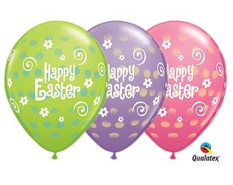 "Happy Easter Balloons, Easter Balloons, Easter, 11"" Balloons set of 6"