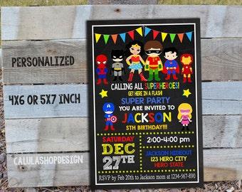 Superhero Birthday Invitation / Superhero Boy Invitation / Superhero Invitation / Superhero Party / Superhero Invite_CB005