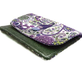 Business Card wallet, Card Holder, Credit card case, Headphone Holder, iPod shuffle case, Womens Wallet, purple, Minimalist Wallet