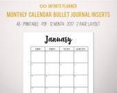 Monthly Calendar (2017+Dec2016) - Bullet Journal Printable