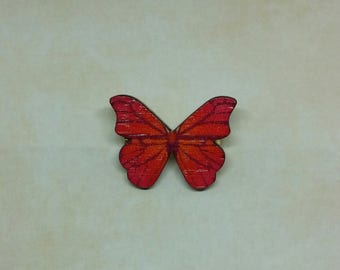 Brooch with butterfly's wooden Red