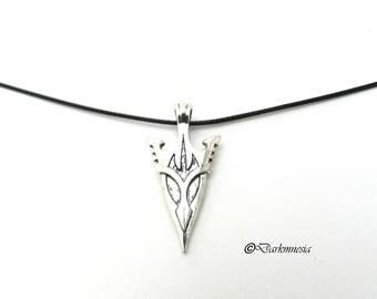 Necklace, arrowhead, black cord, pendant, medieval, fantasy, elven