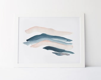 Watercolor Painting, Modern Watercolor Fine Art Giclée Print, Abstract Landscape, Teal and Blush