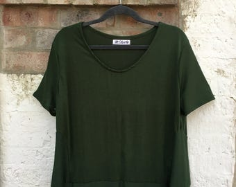 Women's Army Green Knit Top- with Side Panels