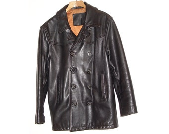 Vintage Schott Leather Jacket Black Cowhide Leather Double Breasted Peacoat Size Medium 1990's