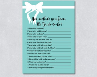 How well do you know the bride / Bridal shower game / Bridal and co theme / Light blue / White Ribbon / DIY Printable / INSTANT DOWNLOAD