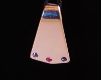 Sterling Silver Pendant with Flush Set Simulated Stones