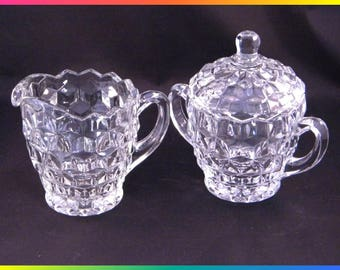 Vintage American Whitehall Pattern Clear Glass Creamer and Sugar Bowl by Indiana Glass, Cubes