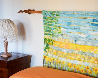 Tuscan Landscape tapestry wall hanging Heavenly Yellow Sunflowers Farmhouse