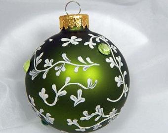Hand Painted Ornament. Mud Ornament. Painted Ornament. Ivy Design. Spring. Green Ornament. Glass Ornament.