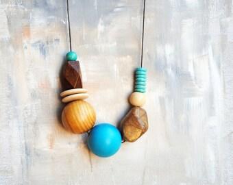 Geometric Necklace, Boho necklace, Statement Necklace, Bohemian Jewelry, Handmade necklace, Organic jewelryt,Turquoise, Wood