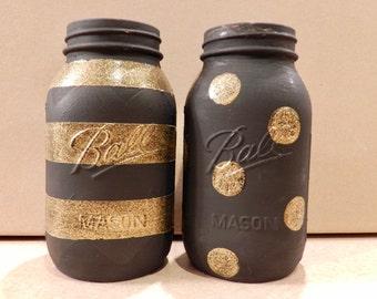 Black & Gold Mason Jar Set