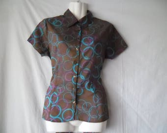 Vintage 90s Cotton Short Sleeves Colorful Summer Blouse,Waist Ribbon  Buttons Front Brown Blouse with Purple and Blue Print