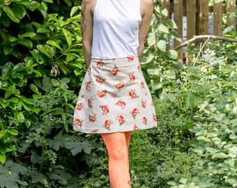 Handmade Funky Fox Print A line Skirt