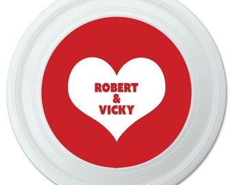 Red Heart Love Wedding Bridal Valentines Anniversary Personalized Flying Disc
