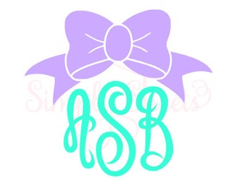 Bow cursive monogram decal ~ bow monogram ~ preppy bow decal