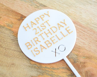 Birthday Circle - Cake Topper - White - Gold - Silver - Custom - Happy Birthday