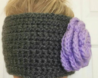 Adjustable Headwarmer with flower