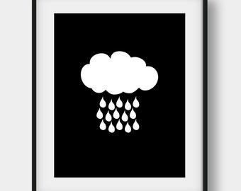 60% OFF Black and White Rain Cloud Print, Kids Room Decor, Scandinavian Print, Nursery Wall Art, Nursery Cloud Poster, Minimalist Decor
