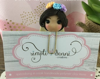 Brunette Planner Girl  Planner Clip, Paperclip, Bookmark, Polymer Clay