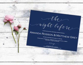 Printable Wedding Invitations - Navy Blue Wedding - THe Night Before - Editable Text - Printable Wedding -  Downloadable wedding #WDH0158