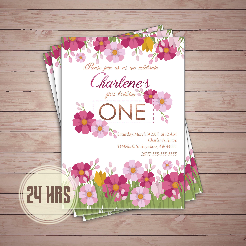 Spring Flowers, Summer flowers girls birthday invite, first birthday ...