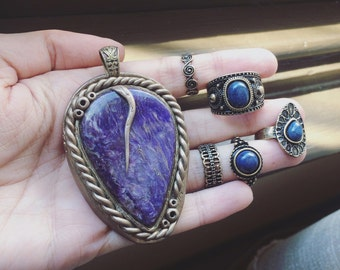 Bronze aged-look rustic Charoite pendant and matching rings set • gypsy • pixie • faerie • renaissance • pagan • gemstone pendant