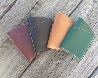 Custom Shell Cordovan Leather Card Holder, Front Pocket Wallet