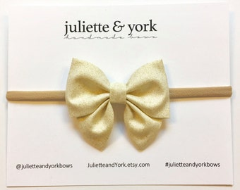 Gold Glitter Mini Sailor Bow {Nylon Headband or Alligator Clip} baby bows, baby bow headband, bow clips, nylon headband