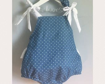 Baby girl romper - ruffled bum romper-shower gift- baby girl birthday outfit- cake smash outfit- chambray girls romper