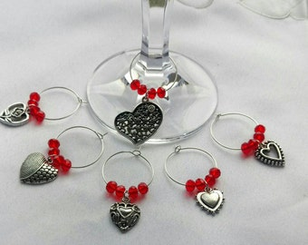 Set of 6 wine glass charms with glass pearl and rondelle crystal and Heart charms, gift, love, sister, mother, friend, love, red, birthday