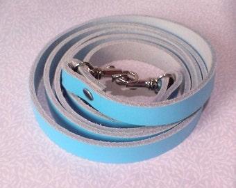 Light blue leather cross body bag strap, handbag strap, bag strap, leather strap.