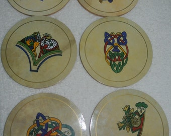 Vintage Bodhrans Made in Connemara Ireland Set of Six Coasters