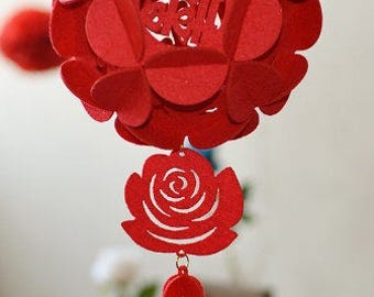 Double Happiness Lantern Hanging Decor, DIY Chinese Wedding Decoration, Asian Wedding, Chinese Tea Ceremony