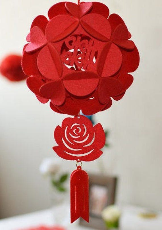 Double happiness lantern hanging decor diy chinese wedding like this item junglespirit Images