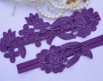 Wedding Garter, Purple Garter Set, Lace Garter Set, Lingerie & Garters, Wedding Garter, Bridal Garter, Purple Lace Garter, Handmade Garter